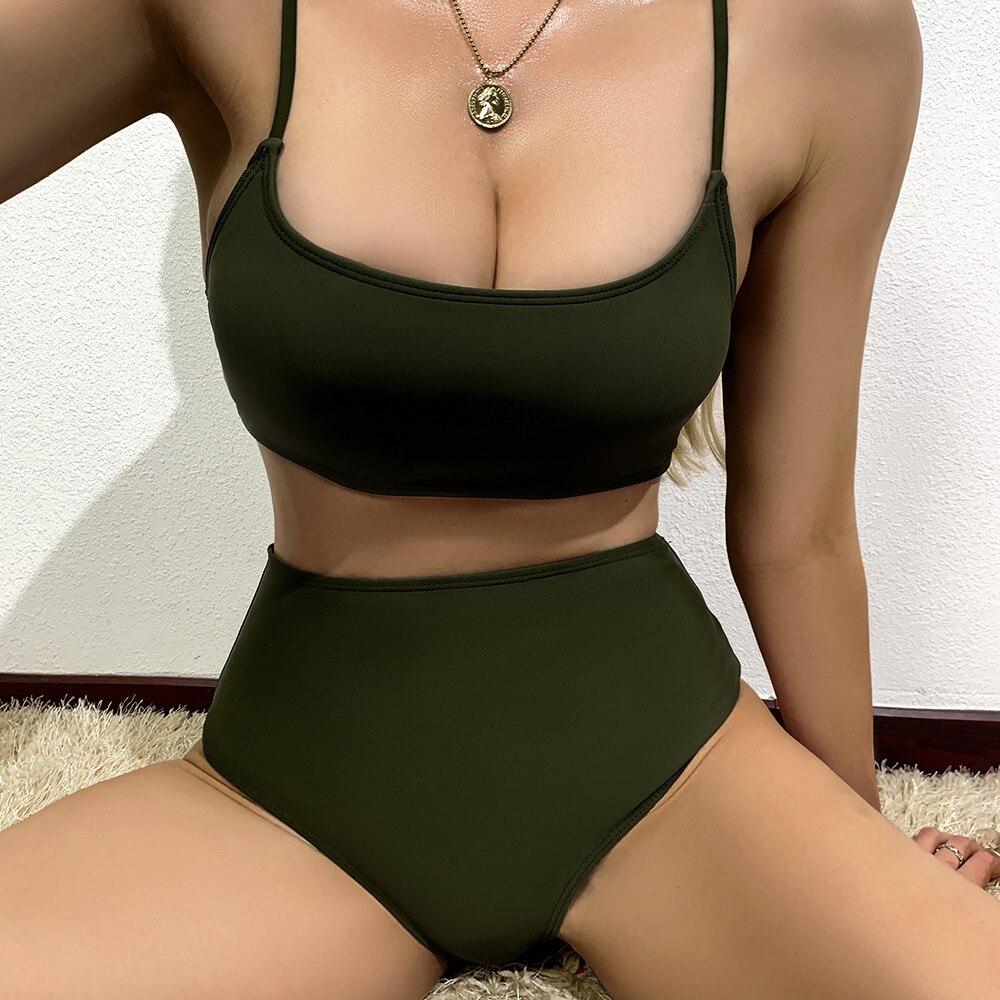 Sexy Bikini 2021 Bademode frauen Badeanzug Straping Feste Nähte Split Badeanzug Sexy Bademode Badeanzüge