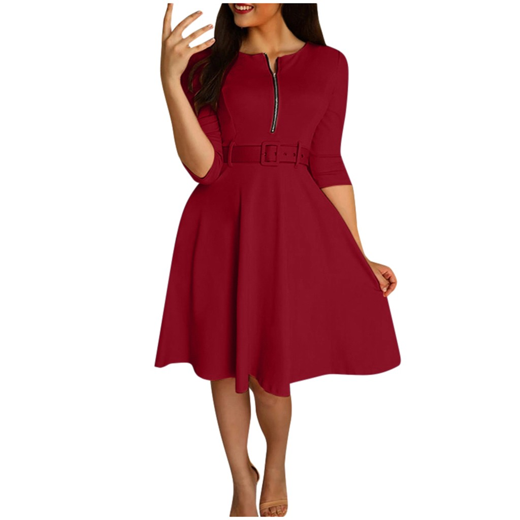 Solid Dress 2019 Women Mini Beach Dress A-Line Three Quarter Sleeve O-neck Sexy Party Dress Vestidos vestido kobieta sukienka