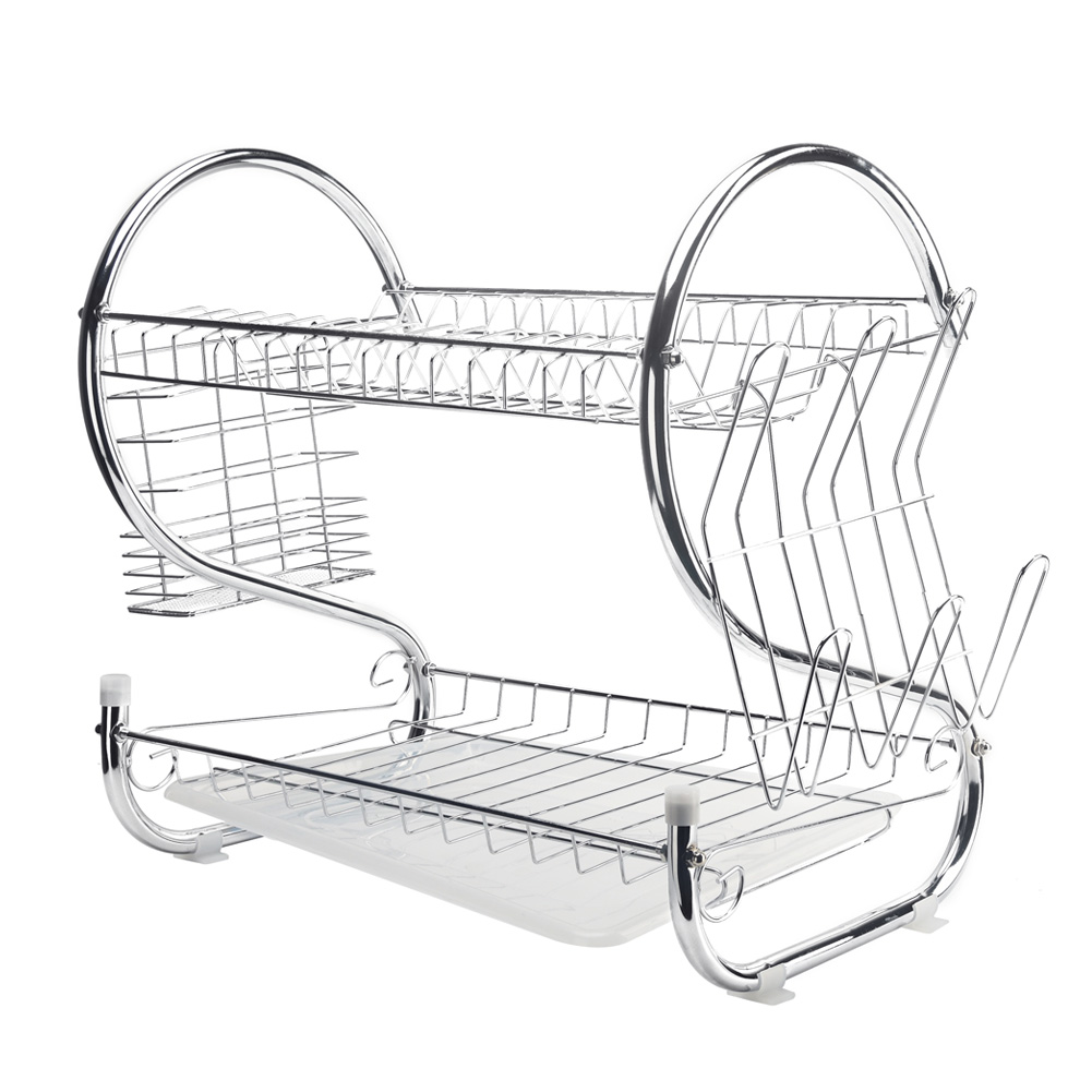 2 Layers Dish Drying Rack Cup Utensil Dryer Organizer Iron Kitchen Plate Holder