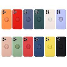 Ultra Dünne Candy Silikon Weiche TPU Phone Cases für iPhone 6 6S 7 8 plus X XS 11 12 mini Pro Max XR Coque Abdeckung Ring halter Stand