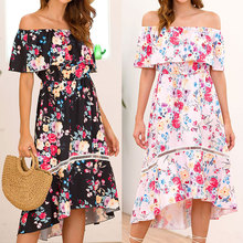Summer Sexy Party Dress Slash Neck Sweet Womens Butterfly Sleeve Beach Flower Printed Fashion Lady