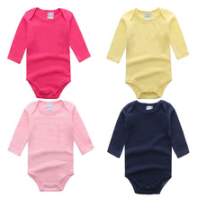 Newborn Long Sleeve Cotton Jumpsuit Spring Classic Clothes Baby Clothes Solid Color Boy Girls Romper for Newborn Baby Clothes