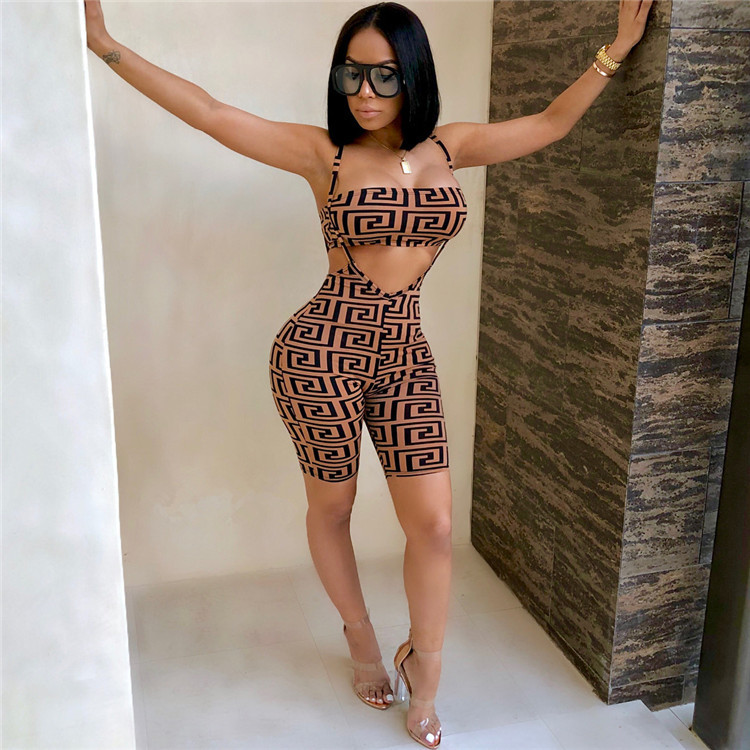 2019 New Products Set  Printed Wrap-around Camisole Jumpsuit Europe And America-Slim Fit Onesie Women's