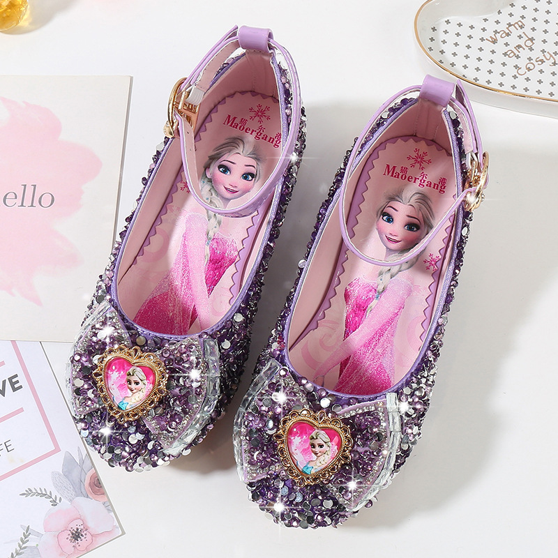 Girls Party Shoes Princess Shoes Leather Glitter Crystals  Elsa Sneaker