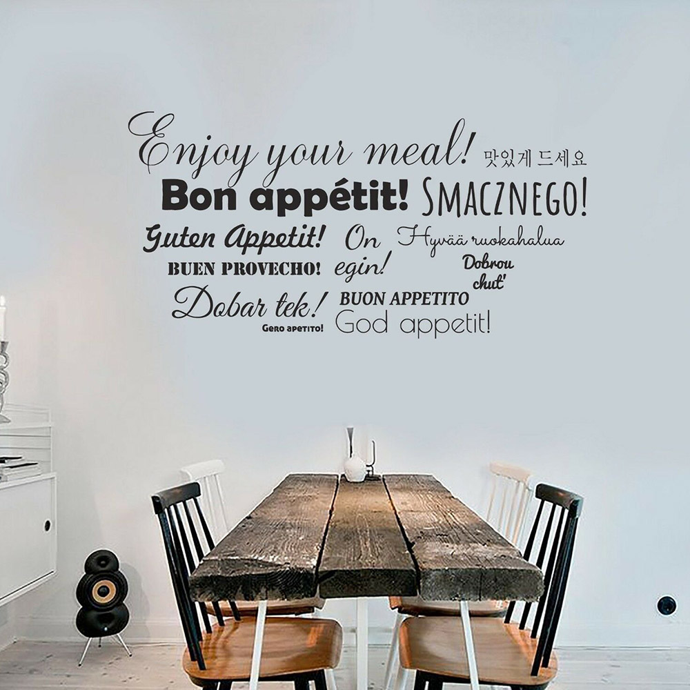 Bon Appetit Words Vinyl Wall Decal Dining Room Wall Stickers Home Decor Kitchen Restaurant Home Interior Design Art Murals C660 Wall Stickers Aliexpress