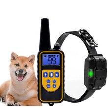 800yd elektrikli uzaktan köpek eğitim tasması su geçirmez şarj edilebilir LCD ekran tüm boyut için bip şok titreşim modu 40% kapalı