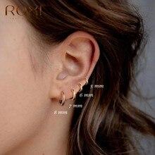 ROXI-Pendientes redondos de geometría para Mujer, aretes redondos de Plata de Ley 925, dorados, brillantes, Vintage