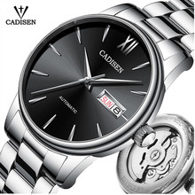 CADISEN גברים שעון אוטומטי מכאני ספיר יוקרה מותג 50ATM עמיד למים שעון זכר Reloj Hombre Relogio Masculino