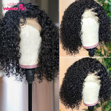Wonderful Short Bob Kinky Curly Lace Front Human Hair Wigs With Baby Hair Curly Bob Wigs 4x4 Closure Wig Pre Plucked Remy Hair(China)