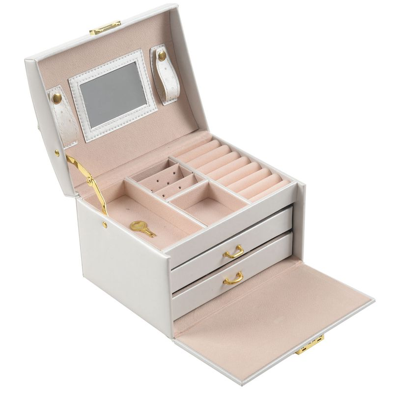Large Jewellery Box Armoire Dressing Chest With Clasps Bracelet Ring Organiser