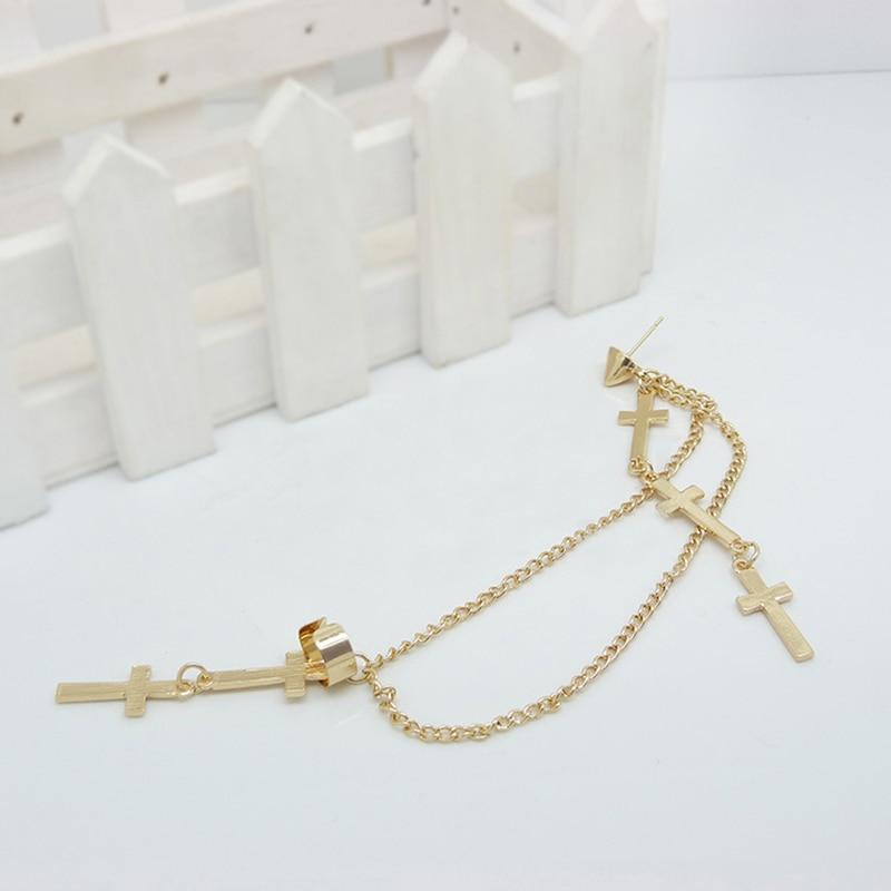 Earrings Chain-Tassel Ear-Cuff Cross-Clip Jewelry Bijoux Punk Women Girl Brinco for Boucles