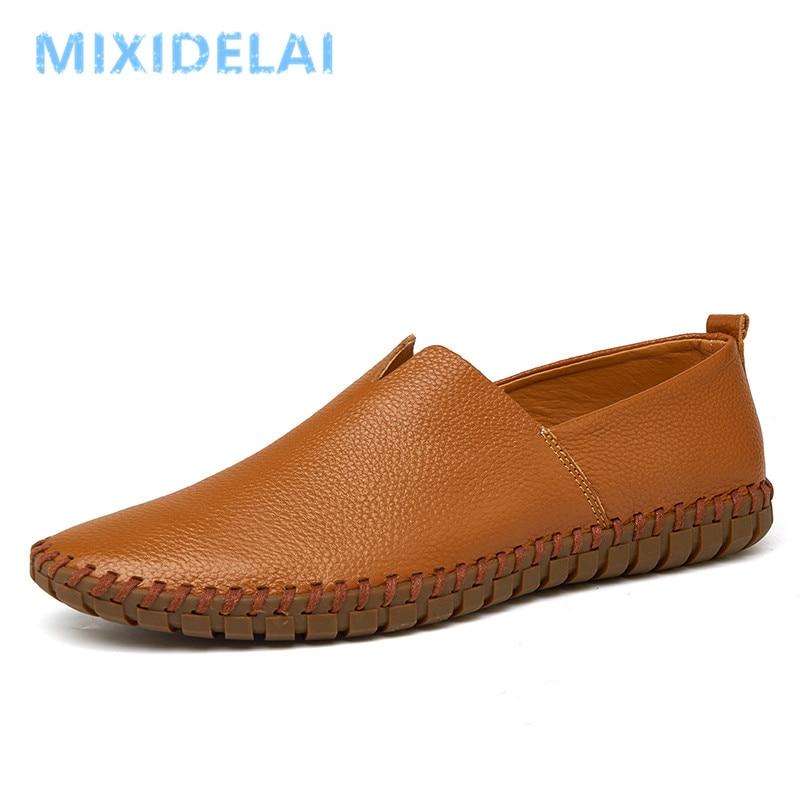 Comfortable Men Casual Shoes Loafers Men Shoes Quality Split Leather Shoes Men Flats Hot Sale Moccasins Shoes Plus Size 38-48