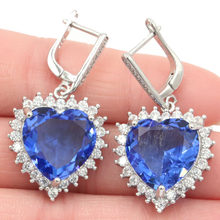 37x19mm Romantic Heart Shape Rich Blue violet Tanzanite CZ Wedding Silver Earrings(China)