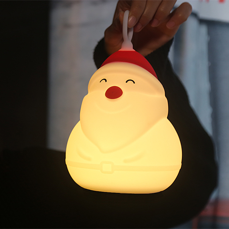 Multicolor Silicone Touch Sensor Santa Claus Night Light USB Baby Kids Bedside Lamp Home Bedroom Decor Birthday Christmas Gift