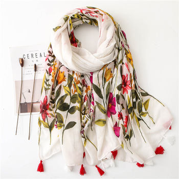 Sparsil Women Spring Cotton Tassel Shawl Floral Voile Korean Style Long Pashmina Wrap Thin Sun Protection Summer Soft Scarf chic skulls and stripes pattern voile pashmina for women