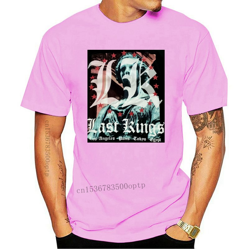 Last Kings T-Shirt Size L Mens Short Sleeve Statue Graphic Print LA to Tokyo 3D Men Hot Cheap Short Sleeve Male T shirt
