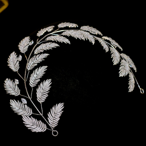 Image 2 - Luxury Zircon Bridal Jewelry Wedding Hair Accessories Leaf Hair Band Hair Band Charm Crown Party Jewelry