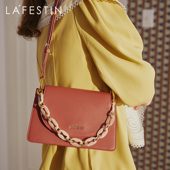 LAFESTIN 2020 new summer small ck acrylic chain hand carry female bag shoulder messenger small square bag female tide lafestin 2020 spring and summer new leather soft fold cloud bag shoulder messenger female bag portable small bag tide