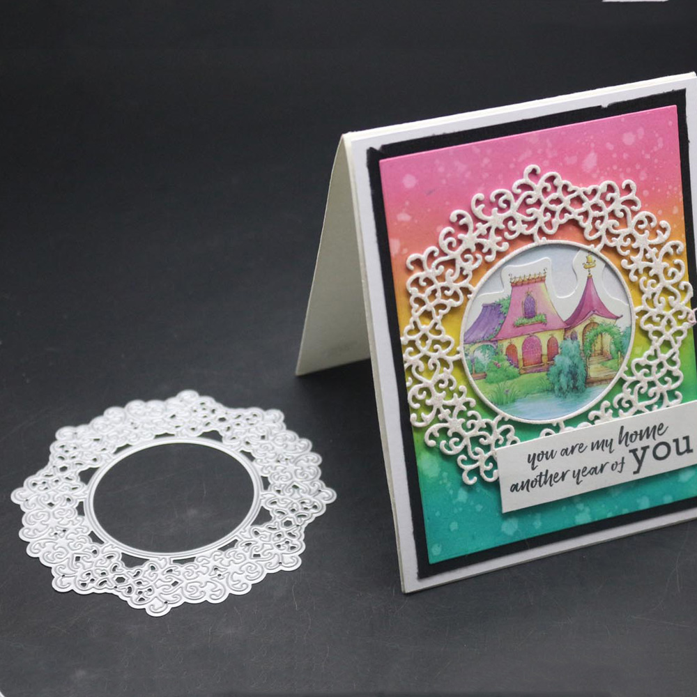 Circle Frame Metal Cutting Dies Circular Lace Decoration Scrapbooking Troqueladora Stencil Stamps And Dies 2019 New Craft