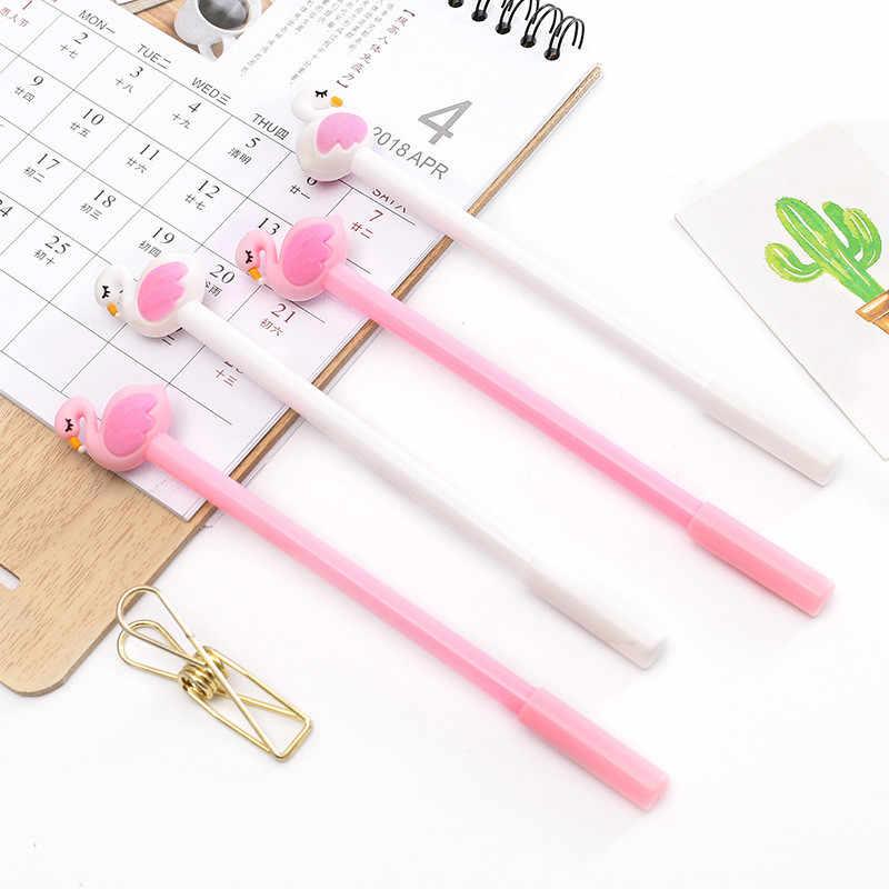 1 Buah Hitam Flamingo Gel Pena Alat Tulis Sekolah Kawaii Perlengkapan Gel Tinta Pena Alat Tulis Sekolah Kantor Pemasok Anak Hadiah