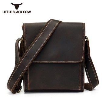 New Genuine Leather Vintage Mens Crossbody Bags Casual Zipper Retro Messenger Leather Bag High Quality Men's Shoulder Bag фото