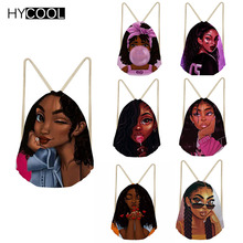 HYCOOL Black Girls Magic African Drawstring Bag For Girls Women Fitness Bag Yoga Bag Teenager Sports Bag Bolso Deportivo Mujer