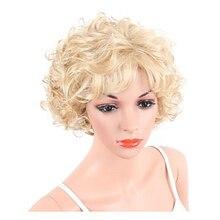 Hairjoy Synthetisch Haar Vrouwen Blond Kort Krullend Pruiken Gratis Verzending
