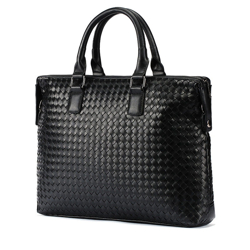 New Leather Woven Men's Male Cross Braided Handbag Business Men's Briefcase Pull Computer Bag Large Capacity Single-shoulder Bag