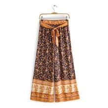 цена на Women Wide-leg Pants Printed Elastic Band Wide-Leg Trousers Casual Bohemian Ethnic Style Printed Wide-leg Pants Loose Trousers