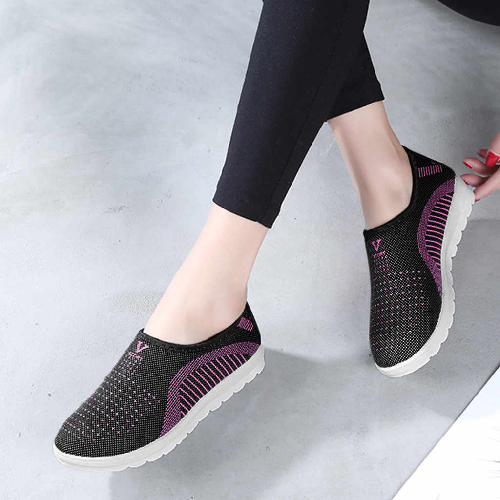 Nữ Lưới Giày Đế Bằng Miếng Dán Cường Lực trơn, Thời Trang Giày Dành Cho Người Phụ Nữ Dạo Phố Sọc Giày Cho Nữ Giày Mềm Mại