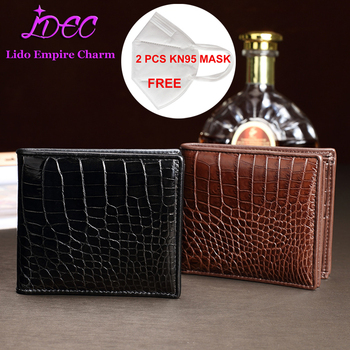 High quality brand Men's fashion short purse bifold Crocodile belly leather wallet male