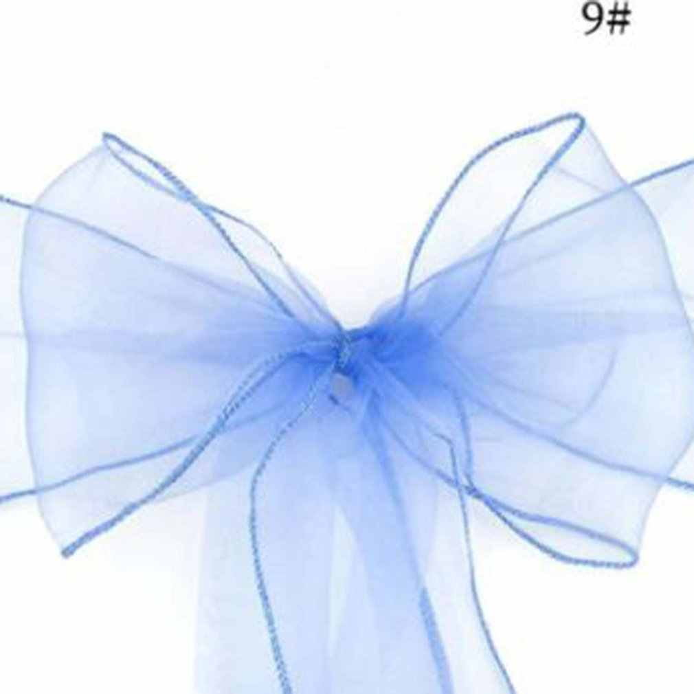 1PCS Beautiful Organza Chair Ribbon Bows Sash for Wedding or Banquet Wedding Decoration