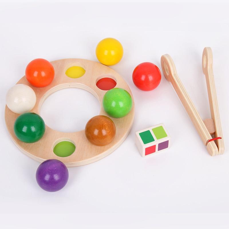 Reproduction en bois cerveau arc-en-ciel pince balle jouet drôle arc-en-ciel billard exercice main oeil coordination éducation précoce Puzzle enfant jouet - 3