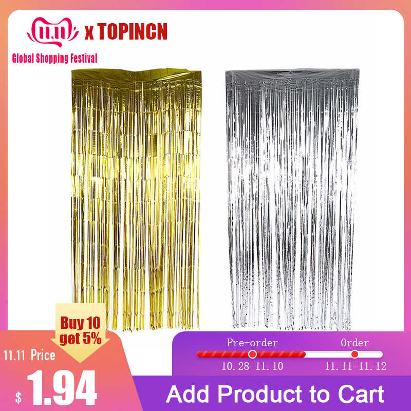 2/3M Metallic Foil Fringe Shiny Rain Curtains Decor Wedding Decor Photography Background Birthday Party Decorations Kids Home