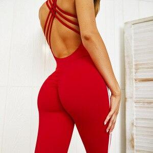 Image 5 - Новинка 2019, женский комбинезон для йоги и фитнеса, боди с открытой спиной, женский сексуальный спортивный костюм, леггинсы, комбинезон, комплект для спортзала