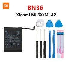 Xiao mi 100% Orginal BN36 3010mAh Battery For Xiaomi Mi 6X Mi6X Mi A2 MiA2 BN36 High Quality Phone Replacement Batteries +Tools xiao mi original phone battery bn36 for xiaomi mi 6x mi6x mi a2 mia2 2910mah high capacity replacement battery free tools us $8