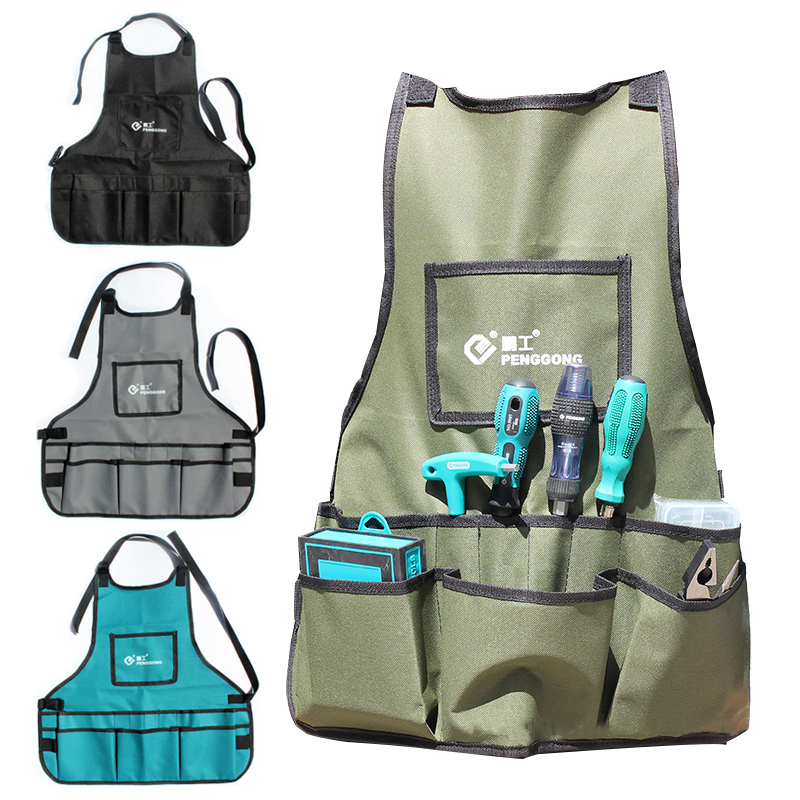 Durable 14 Pocket Tool Apron Belt Adjustable Vest Multifunctional Adjustable Bib Apron Waterproof Tool Bag Tool Storage Organize