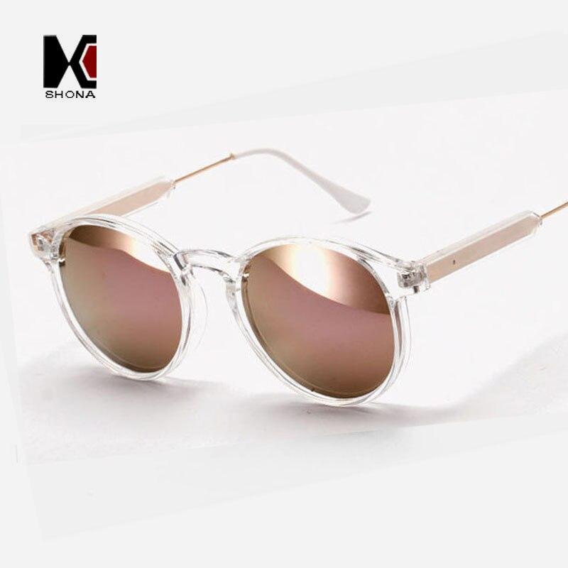 Мужские и женские круглые очки SHAUNA, брендовые дизайнерские солнцезащитные очки с прозрачной оправой и зеркальными линзами, зеркальные линз...