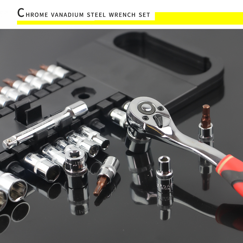 Wrench-Set-Tools Ratchet-Socket Crv 1/2--Drive-Sockets-Set with Hanging-Rack 1/4-3/8-Quick-Release