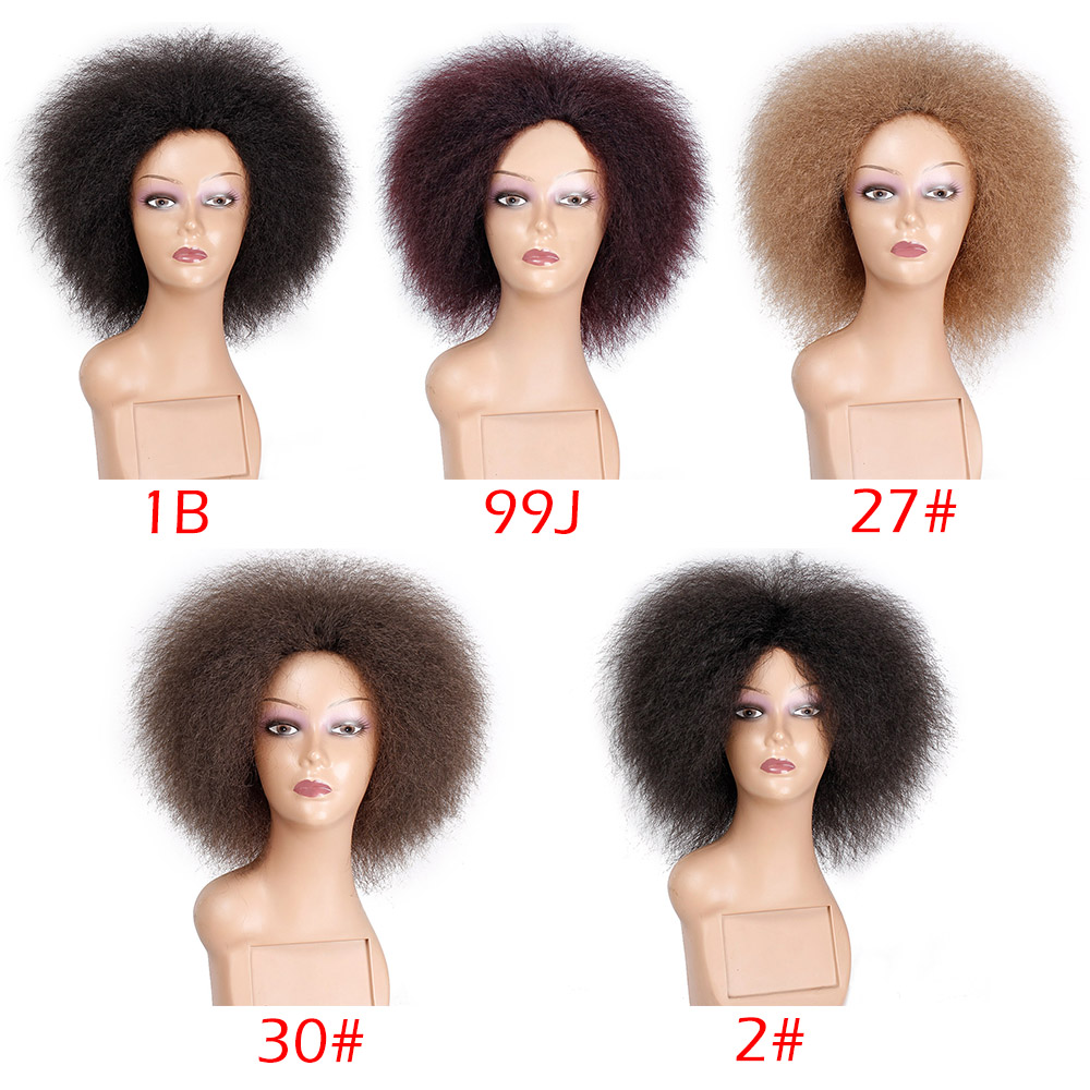Image 3 - Spring sunshine 6 Inch Natural Black Brown Red Hair Synthetic Short Curly Afro Wig Fluffy Wigs for Women Black HairSynthetic None-Lace  Wigs   -