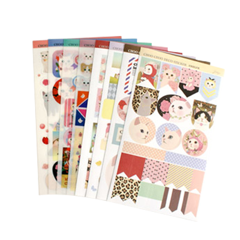 A7 High Quality Diary Partner Kitty Animal Riz-zoawd Leather Cover Sticker 3 Election 8pcs