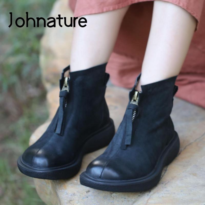 Johnature/женские ботильоны; Женские туфли на молнии из натуральной кожи; Новинка 2020 года; Ботинки на плоской подошве с круглым носком ручной работы в сдержанном стиле; Ботинки на платформе для отдыха|Полусапожки|   | АлиЭкспресс