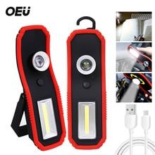 Linterna de imán LED de trabajo, gancho de reparación de coche recargable USB, reflector portátil, soporte magnético, COB brillante