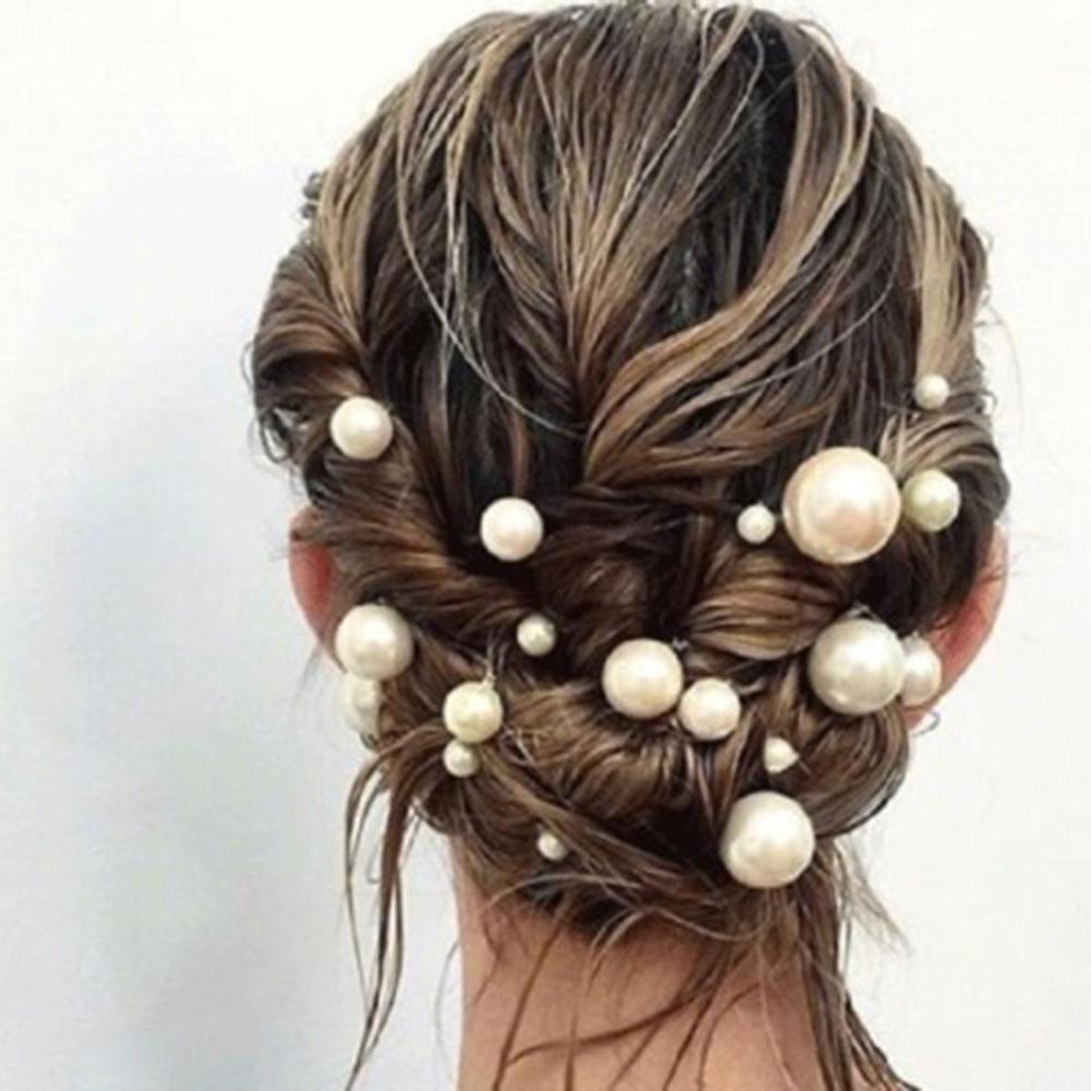 20Pcs/box Pearl U-shaped Pin Hairpin Bridal Tiara Hair Accessories Wedding Hairstyle Design Tools Disk Hair Haippins