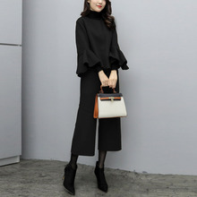 Two Piece Set Korean Solid Ruffled Wool Coat And Wide Legs Long Pants Spring Women Sets Office Ladies Causal Suit Black Outfits