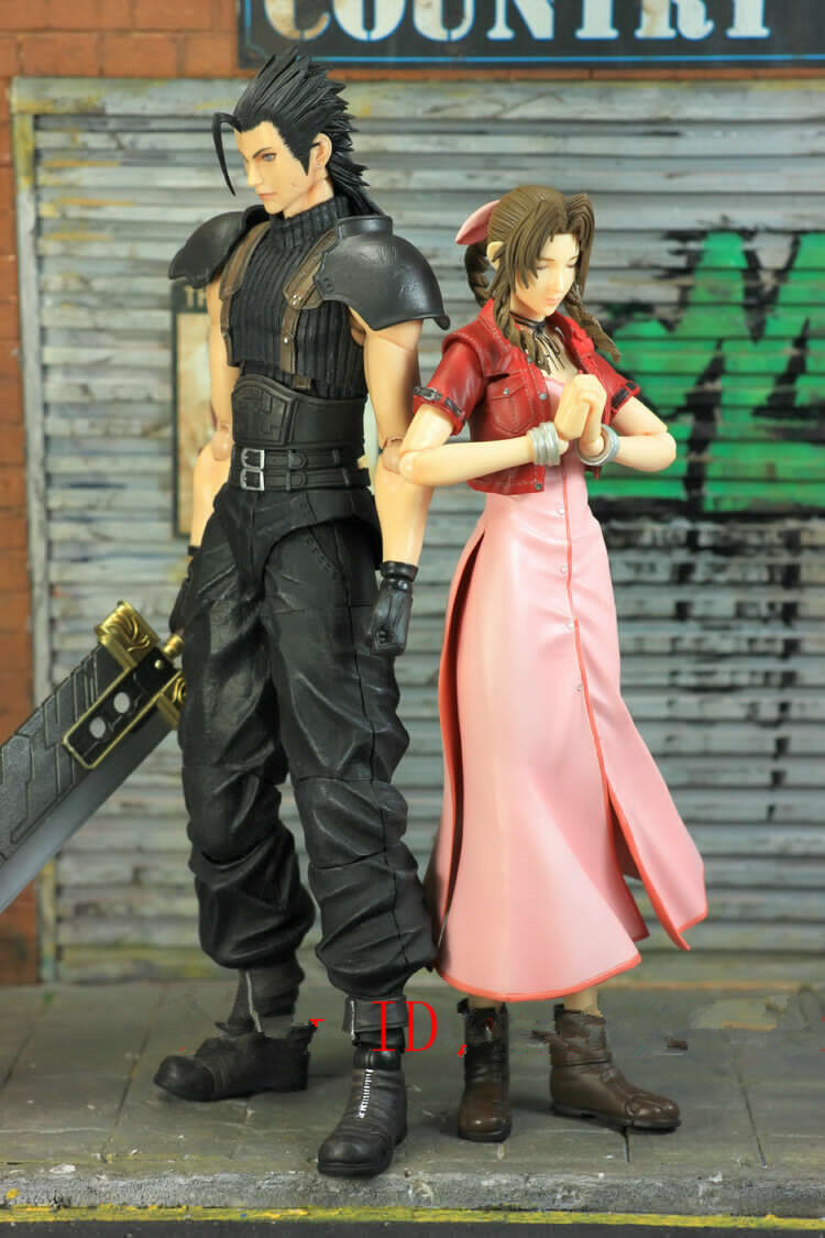 Play Arts Final Fantasy VII Aerith Zack Action Figure NO BOX Cheap Shipping Fee
