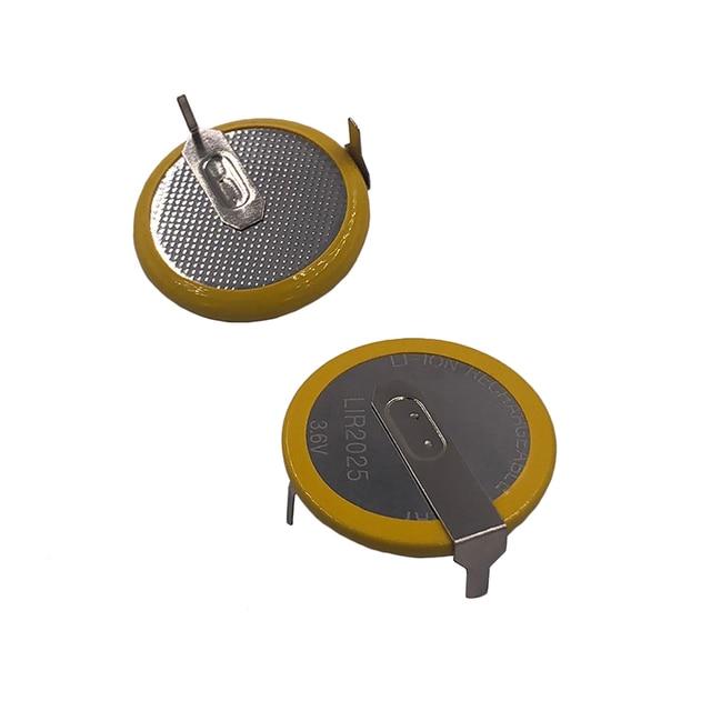 Литий ионная аккумуляторная батарея LIR2025 с 2 контактным вертикальным аккумулятором 90 градусов 3,6 В, Литиевые кнопочные батареи для монет, 2025 заменяет VL2020