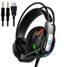 Ps4 jogos fones de ouvido 4d estéreo rgb luz fones de vídeo jogo com microfone para novo xbox um/portátil/pc tablet gamer