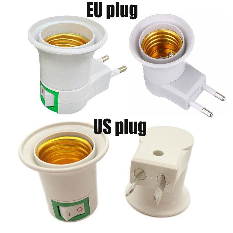 E27 LED Light Socket Lamp Base Soquete Douille E27 Lamp Holder To EU US Plug Holder Adapter Converter ON/OFF For Led Bulb Lamp