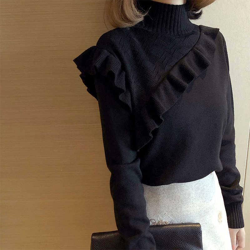Jersey coreano de punto con cuello alto negro para Mujer, jerséis y jerséis para Mujer, Moda femenina 2020, Ropa KJ1706 s